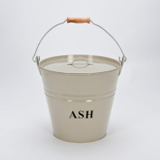 Inglenook Premium Cream Powder Coated Metal Ash Bucket With Lid #ING014