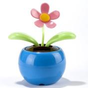 Kobwa(TM) Blue Magic Cute Flip Flap Swing Dancing Solar Powered Flower Toys With Keyring