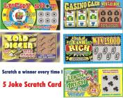5 Winning Scratch Fake Lotto Lottery Tickets Card Party Toy Joke Fun Prank Trick