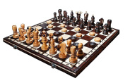 Large Hand Crafted Cherry Wooden Chess And Draughts Set 42cm x 42cm