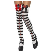 Stockings, with Bow and Glitter Motif, Striped