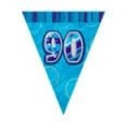 90TH BIRTHDAY BUNTING (NEW UNIQUE blue hol) 3.7m LONG