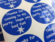 24 Party Bag Thank You Stickers - White on Blue