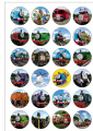 24 Precut Round Thomas The Tank Engine Edible Wafer Paper Cake Toppers Decorations