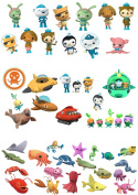48 Octonauts Sea Animals stand up Characters Edible Wafer Paper Cake Toppers