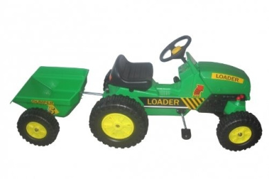 Oypla Childrens Pedal Ride on Green Super Kids Tractor With Toy Trailer