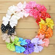 ChicStar 15pcs Baby Girls 7.6cm Boutique Cute Polka Dot Grosgrain Ribbon Hair Bows Hair Clips Barrettes in 15 Colours