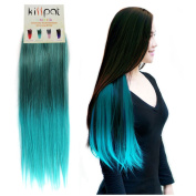 """Kisspat® Turquoise Ombre Dip Dyed Hair Extension-Synthetic Clip In Hair Extension With Gradual Green & Blue Colours, 5 Clips Easy To Apply & Remove, 60cm - 60cm Long, 23cm wide, """"Step By Step"""" Instruction For You"""