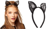 Wowlife Cute Costume Party Headband Sexy Black Lace Bunny Cat Ears Hairband for Wedding Lace Veil Orecchiette Ear Hair Band Hairclip Cosplay Fancy Dress