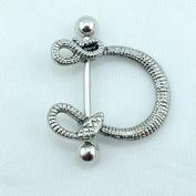 2PCS Trendy U Shape Snake Design Nipple/Navel Ring Stainless Steel Straight Bar Fashion Piercing Body Jewellery