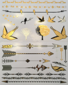Metallic Temporary Tattoos (2 Sheets/24 Tattoos). SALE! - Beautiful Tattoo Flash & Body Art - Black, Silver & Gold Tattoo Jewellery - Trendy Tattoo Designs - Bracelets, Geometric Designs, Bands, Birds, Trees, Arrows, Feathers and More |Twink D ..