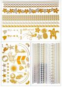 Metallic Gold Temporary Tattoos 3 Sheets