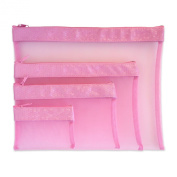Multi Purpose 4 Piece Mesh Bag Set for Travel, Office Supplies, Cosmetic, Paper, Bill and Credit Card Bag