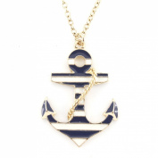 Exquisite Gold Tone Marine Theme Anchor Pendant Necklace