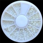 EverGoods White Pearl Nail Art Stone Different Size Wheel Rhinestones Beads
