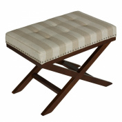 Cortesi Home Kayla Traditional X Bench Ottoman in Linen with Nail Head Trim, Sandy Beach Stripes