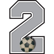 """""""2"""" Soccer Ball Jersey Number Varsity Uniform Wall Sticker. Decal Numbers for Children's, Nursery & Baby's Sport Room Decor, Baby Wall Team Number Stickers, Boys Bedroom Wall Sports Decorations. Sports Balls Kids Mural Walls Decals, Baby Shower"""