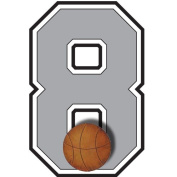 """""""8"""" Basketball Jersey Number Varsity Uniform Wall Sticker. Decal Numbers for Children's, Nursery & Baby's Sport Room Decor, Baby Wall Team Number Stickers, Boys Bedroom Wall Sports Decorations. Sports Balls Kids Mural Walls Decals, Baby Shower"""