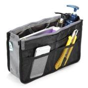 UZZO Fashion High Quality Women Ladies Travel Insert Handbag Organiser Portable Expandable Tidy Bag Double Zipper Nylon Makeup Cases