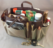 Available in 4 Colours! Jolie Brown & Taupe Handbag Purse Organiser Travel Cosmetic Make-Up Tote Insert Dimensions