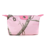 Realtree® Pink Camouflage Fabric Cosmetic Bag w/ Faux Leather Trim - RT1-51943B APP/PK