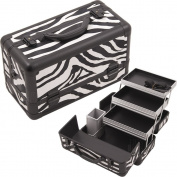Hiker HK3101 3-Tier Professional Aluminium Case with Extendable Trays and Brush Holder, 38cm , Zebra Texture Printing