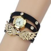 Coromose Leather Strap Angel Wings Rivet Wristwatch