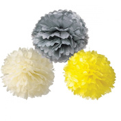 HoHoDeal Set of 6 Mixed Ivory Grey Yellow Tissue Paper Pom Poms Wedding Baby Shower Party Nursery Hanging Decroation
