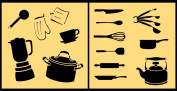 Auto Vynamics - STENCIL-COOKINGSET01-20 - Detailed Cooking & Kitchen Utensils Stencil Set - Featuring Pots, Measuring Cups, A Blender, & More! - 50cm by 50cm Sheet - (2) Piece Kit - Pair of Sheets