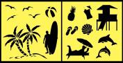 Auto Vynamics - STENCIL-BEACHSET01-10 - Detailed Beach & Ocean Life Stencil Set - Includes Sea Shells, Gulls, Surfers, & More! - 25cm by 25cm Sheet - (2) Piece Kit - Pair of Sheets