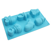 X-Haibei Baby Carriages Bottle Little Feet Bear Soap Chocolate Muffin Cake Silicone Mould