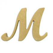 15cm Wood Script Cursive Capital Letter M Unfinished DIY Craft Cutout to Sell Ready to Paint Wooden Stacked