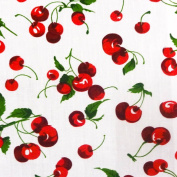 Cherry Fruit White Poly Cotton, 150cm /150cm Inches Wide - Sold By The Yard