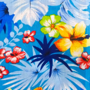Hawaiian Floral Mix Poly Cotton, 150cm /150cm Inches Wide - Sold By The Yard