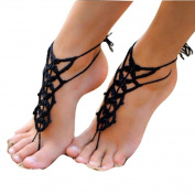 Sealike Black Crochet Barefoot Sandals Wedding Beach Shoes Footless Sandles Foot Jewellery Belly Dance Shoes with Stylus