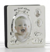 Deluxe Satin Silver Baby Photo Album - My First Album by Shudehill Giftware