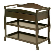 Sleigh Style Changing Table with Drawer Pecan