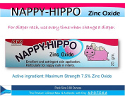 Baby Nappy Rash Paste Maximum Strength 7.5% Zinc Oxide (Nappy Hippo 25mls.) Effective As Skin Protectant Paste By Emollient & Astringent Especially for Nappy Rash