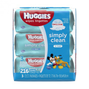 Huggies Simply Clean Baby Wipes - Unscented - 216 ct