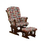 Cotton Tale Designs Glider Square Print on Espresso with Ottoman, Hounds Tooth
