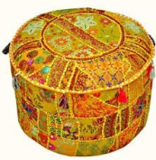 Indian Embroidered Patchwork Ottoman Cover,Traditional Indian Decorative Pouffe Ottoman,Indian Comfortable Floor Cotton Cushion Ottoman Pouffe,Indian Designs Ethnic Patchwork Pouffe 36cm x 60cm By Traditional Indian