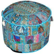 Indian Living Room Pouffe, Foot Stool, Round Ottoman Cover Pouffe,Traditional Handmade Decorative Patchwork Ottoman Cover,Indian Home Decor Cotton Cushion Ottoman Cover 33cm x 46cm By Traditional Indian