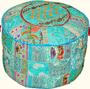 Indian Traditional Home Decorative Ottoman Handmade Pouffe,Indian Comfortable Floor Cotton Cushion Ottoman Cover Embellished With PatchWork And Embroidery Work,Indian Vintage Ottoman Turquoise Pouffe 12x16