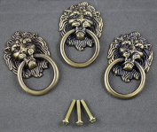 6 pieces Vintage Lion Head Ring Dresser Drawer Cabinet Cupboard Door Pull Handle etal Lion Head Style Door Pull Handle Knobs, Bronze Tone