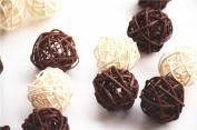 CheckMineOut 20Pcs Mixed 3cm 5 cm White Coffee Wood Twig Rattan Wicker Ball Wedding Decorations Home Garden Hanging Decor