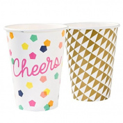 Talking Tables Party Time Big Cups (12 Pack), Multicoloured
