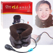 Greenwon Cervical Traction 3-layered Air-inflated Cervical Vertebra Tractor Inflammable Neck Brace Support Health Care Product for Ageing People Cervical Traction