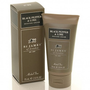 Black Pepper and Lime Travel Shave Cream Tube 70ml shave cream by St. James of London