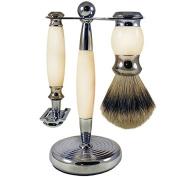 Ivory/Silver DE Shaving Set 3pcs shave set by Gold-Dachs