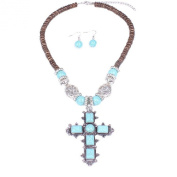 . Turquoise Celtic Cross Pendant & Drop Dangle Earrings Jewellery Set for Women